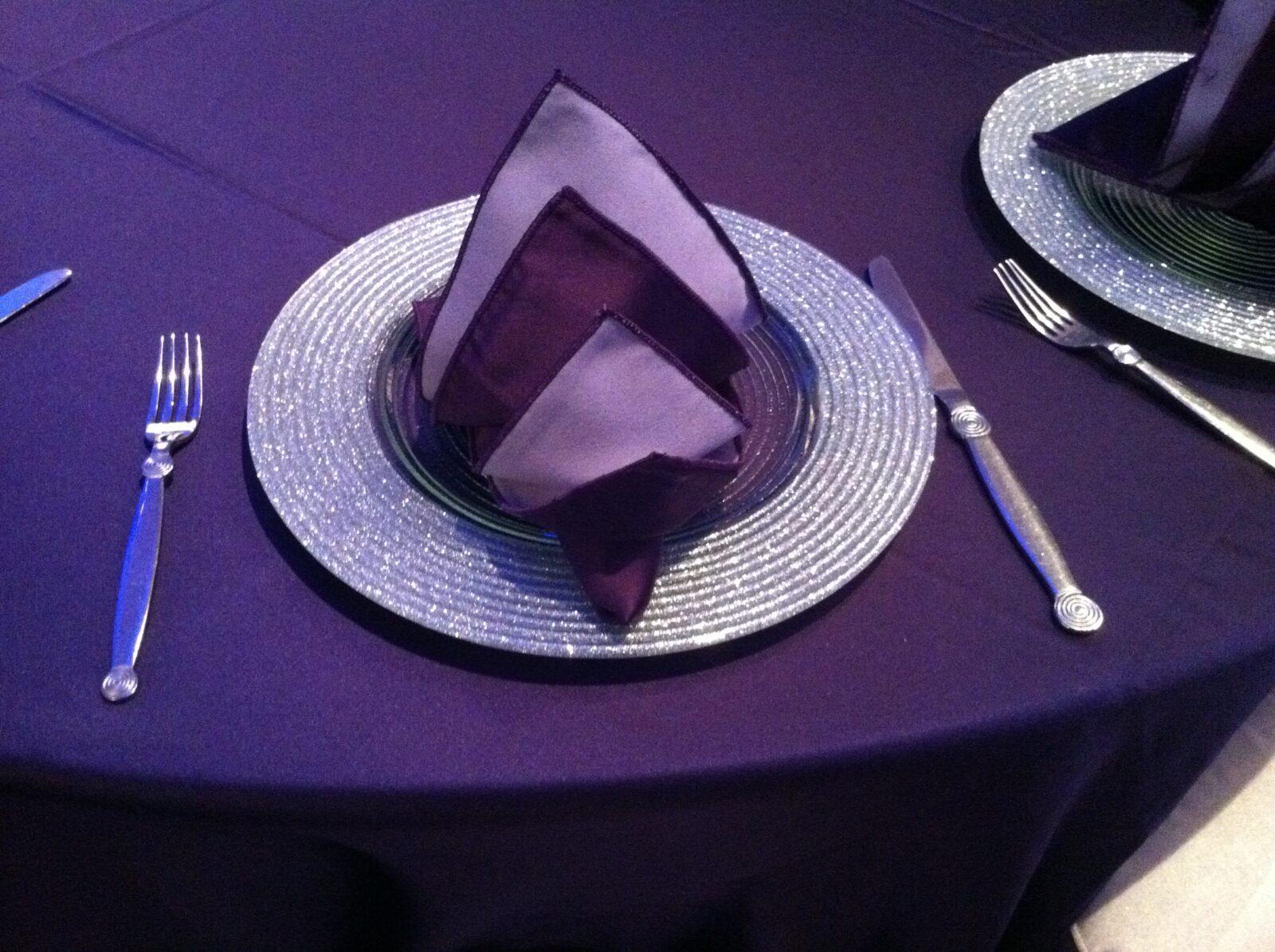 Blue Spark Event Design - Purple satin linen - Silver charter, Purple Satin Napkin