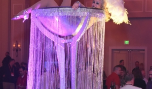 Blue Spark Event Design - Martini Girl, Large martini, beads, pink lighting, oversized glass, feathers, bar back.jpg