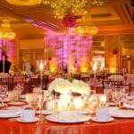 Blue Spark Event Design - White Flowers, orange dazzle linen, brown chivari